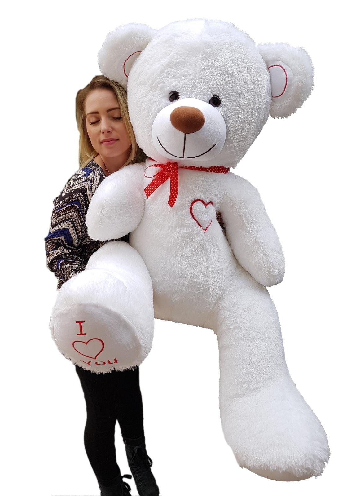 Teddybär Plüschbär Kuscheltier Stofftier Schmusebär Riesen Geschenkidee 160cm weiß-rot